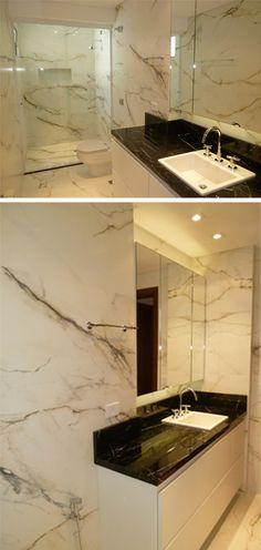 Projeto da Arquiteta Larissa Araujo Soares - Sigma Arquitetura.  Reforma de um banheiro.