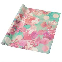 a girly, elegant and romantic floral pattern featuring beautiful and preppy vintage victorian roses and peonies in light pink and purple on a retro pink and coral watercolor polka dots pattern on turquoise and teal tie dye background. perfect feminine gift for the flower and nature lover with a sense for trends and fashion