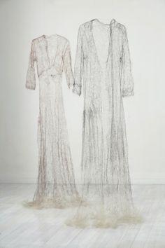 Inhale. Helen Pynor. 2006. Knitted human hair. 76 x 128 x 25 cm.     Image courtesy the artist, GV Art, London, and Dominik Mersch Gallery, Sydney. Photo Danny Kildare.