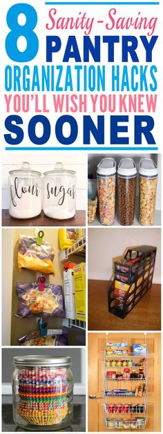 These pantry and kitchen organization hacks are just the BEST! Glad to have found these amazing pantry organization hacks. Definitely pinning for later! #Pantry #Kitchen #Organization #Hacks