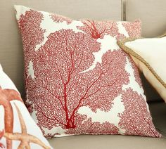 Fan Coral Indoor/Outdoor Pillow | Pottery Barn