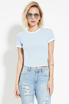 A boxy short-sleeved ringer tee crafted from ribbed knit with contrast trim. Preppy Outfits, College Outfits, Classic Outfits, Cool Outfits, Fashion Outfits, Fashion 2016, School Fashion, Ringer Tee Outfit, Forever 21 Outfits