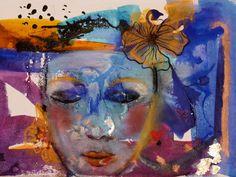 """tableau art contemporain original décoration peinture abstraite techniques mixtes mini toile:""""sérénité"""" : Peintures par cyane"""