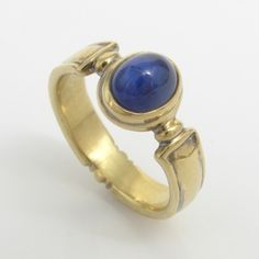 Cabochon Cut Blue Sapphire Ring by Caleb Meyer Studio