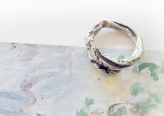 Texture Hammered and engraved Silver Ring/ oxydized jewelry/ Unique/ Greek handmade/ Gift for her by JewelryByFlorita on Etsy