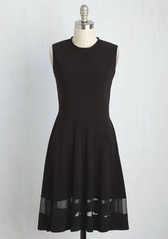 Sleek Your Interest Dress - Black, Solid, Work, A-line, Sleeveless, Fall, Knit…