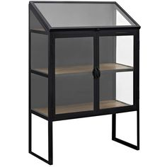 Modway Furniture Modern Settle Cabinet In Brown is part of Modern Home Accents Cabinets - Hatch Tempered Glass Panes Powder Coated Steel Lacquered Black Finish Actual wood color may vary SET INCLUDES One Settle Cabinet Wood Shelves, Glass Shelves, Modern Furniture, Home Furniture, Kitchen Furniture, Accent Furniture, Office Furniture, Furniture Market, Furniture Removal