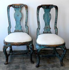 Distressed blue chairs!