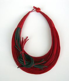 Red and Grey Fiber Statement Necklace by superlittlecute on Etsy