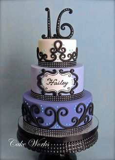 Sweet 16 Bling - 16th birthday cake in fondant. The birthday girl chose an inspiration cake design from one that was originally done by Corrie Cakes.
