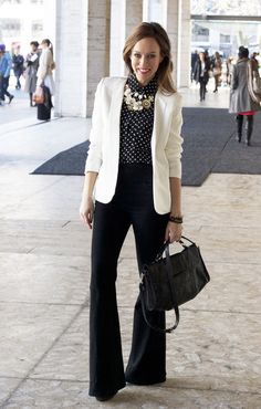 Sydne Style - Parker white blazer black and white trend polka dots