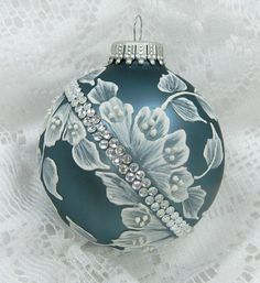 Soft Teal Hand Painted 3D Floral MUD Ornament with Rhinestone Bling. $25.00, via Etsy.