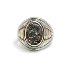 Vintage 1950s UNCAS Sterling Silver Large Mens Greco-Roman Soldier Intaglio Statement Signet Ring Size 11.25 by TheGemmary on Etsy