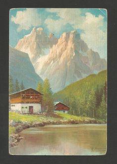 ART POSTCARD 1950 years artist signed ITALY ITALIA ALPS landscape