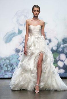 Wedding Dresses: Romantic Cream Ruffled Dress by Monique Lhuillier Bridal Dress