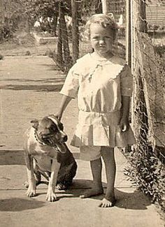 """1910 - pit bulls were called the """"nanny"""" dogs because they watched over the child"""