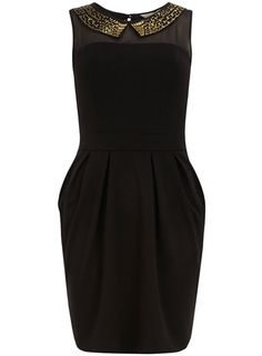 Studded collar lampshade dress. Love! Can we say Holiday party dress