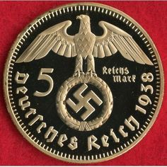 NAZI GERMANY - 1938 5 MARK RESTRIKE COIN.  This coin is 24K .999 FINE GOLD PLATED.