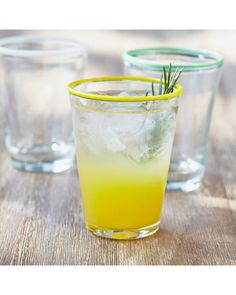 Yellow-Rim Juice Glass