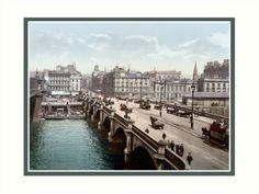 Vintage 1890s Glasgow Bridge Scotland colour photo by aapshop