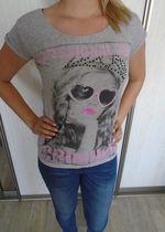 Szary T-shirt z nadrukiem
