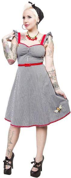 130101 Gingham Bee Mine Dress Sourpuss Retro Rockabilly Pin-Up Cute Medium