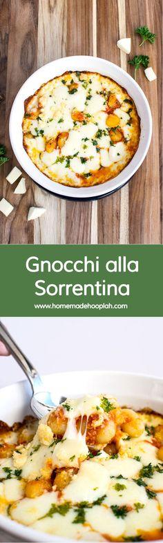 Gnocchi alla Sorrentina! Gnocchi covered in stringy mozzarella, tomato sauce, and light herbs! | HomemadeHooplah