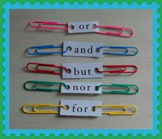 Great idea for conjunctions! Love the paper clip joining two sentences. 5 Conjunctions with clips - compound sentences! You can use this with my game/task cards for sentences! Pictures support learning at Looks-Like-Language! Teaching Grammar, Teaching Language Arts, Language Activities, Teaching Writing, Writing Activities, Speech And Language, Teaching Tools, Teaching English, Teaching Resources