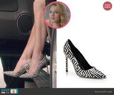 Petra's black and white patterned pumps on Jane the Virgin.  Outfit Details: http://wornontv.net/45738/ #JanetheVirgin