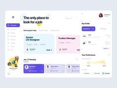 Job Board by Martyna Zielińska for tzudio. on Dribbble Web Design Mobile, Web Ui Design, Design Design, Site Design, Flat Design, Minimal Web Design, Dashboard Ui, Dashboard Design, Portal Design