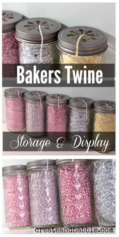 Using Mason Jars for Craft Room Organization - Organization can be pretty! Store and display bakers twine in jar. - Using Mason Jars for Craft Room Organization - Organization can be pretty! Store and display bakers twine in jar. Pot Mason Diy, Mason Jars, Mason Jar Crafts, Craft Room Storage, Sewing Room Organization, Storage Ideas, Mason Organization, Storage Solutions, Craft Rooms