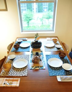 table setting with tenugui