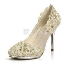 [USD $ 59.99] Elegant Satin Stiletto Heel Pumps/Closed Toe With Flower Wedding/Party Shoes