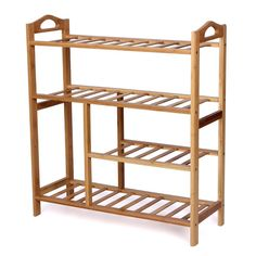 Songmics 4 Tier Natural Bamboo Shoe Rack Storage Organiser Holder LBS94B: Amazon.co.uk: Kitchen & Home