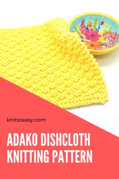 The Adako dishcloth pattern has stunning texture that looks difficult, but is actually a very quick & easy 2-row pattern repeat with a border, using only knit & purl stitches. #knitsoeasy #knitted washcloth pattern #simple washcloth knit pattern #knitting pattern #knit dishcloth pattern easy