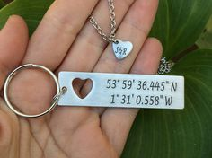 Couples Keychain & Personalized with matching necklace, Long Distance Relationship Latitude Longitude Keychain, Personalized Keychain