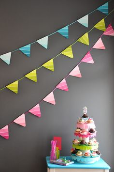 Cute paint chip flag garland.