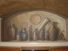 Kitchen Niche. Trompe l'oeil.  www.dwcustommurals.com, Dream Walls Murals and faux Finish. By Artist Alfredo Montenegro