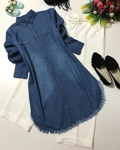 Women's denim tunic with trouser to express your individuality for all events and to create a relaxed or smart casual style. Denim Jacket With Dress, Womens Denim Dress, Fashion Wear, Hijab Fashion, Fashion Dresses, Stylish Dresses, Casual Dresses, Casual Outfits, Pakistani Fashion Casual