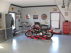 Harley pub garage garage interior design