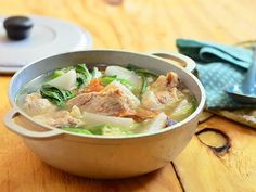 Sinigang na Baboy-A tamarind flavored soup made with pork spareribs, vegetables and chili pepper