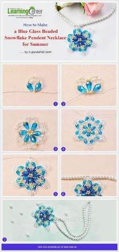 Tutorial on How to Make a Blue Glass Beaded Snowflake Pendent Necklace for Summer from LC.Pandahall.com | Jewelry Making Tutorials & Tips 2 | Pinterest by Jersica