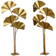 Huge Four Ginkgo Leaf Brass Floor Lamp by Tommaso Barbi | From a unique collection of antique and modern floor lamps at…