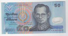 Tailândia 1997 Cédula de 50 Baht retratando o Rei Rama IX, flor de estampa, em polímero (plástico)