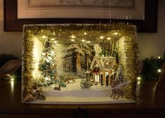 Your place to buy and sell all things handmade Miniature Christmas, Christmas Crafts, Christmas Decorations, Xmas, Christmas Ornaments, Centerpiece Table, Decoration Table, Christmas Shadow Boxes, Winter Theme