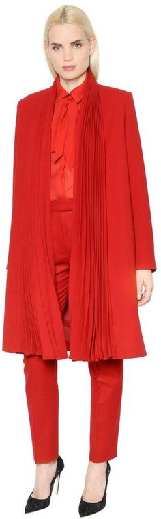 Pleated Wool Crepe Coat | #Chic Only #Glamour Always