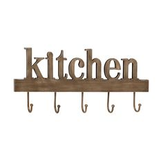 Hang utensils, measuring spoons, herbs, aprons, or whatever you need from this wooden and metal Kitchen wall décor. As if anyone were to question what room they're in, you can make a statement with thi...  Find the Kitchen Sign With Hooks, as seen in the Wall Hooks Collection at http://dotandbo.com/category/decor-and-pillows/organization/wall-hooks?utm_source=pinterest&utm_medium=organic&db_sku=105147