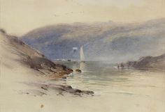"""""""Cove with a Sailboat,"""" Samuel Peter Rolt Triscott, watercolor, 17 x 12"""", private collection."""