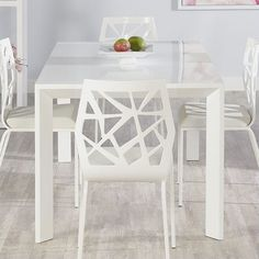 Adara Dining Table in White Lacquer