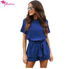 56cb9f573ea Dear Lover Casual Playsuit Summer Navy Half Sleeves Peplum Waist Romper  Women Jumpsuits Boho Short Overalls